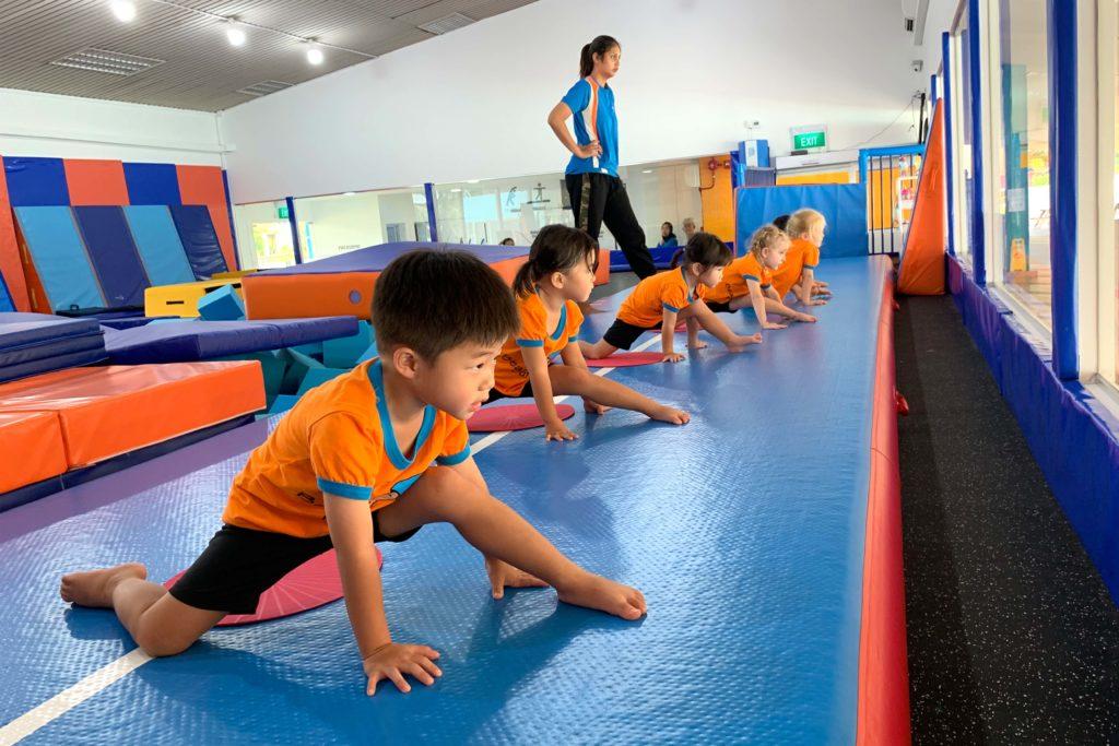 kids doing stretching